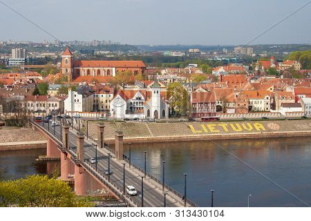 Kaunas / Lithuania - April 25 2019: Skyline Of Kaunas City With River Neris, Old Town And Bridge, Li
