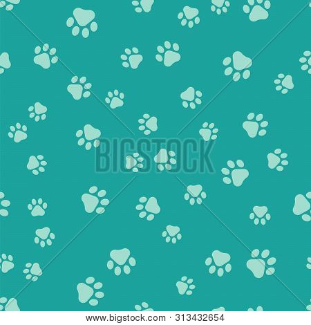 Green Paw Print Icon Isolated Seamless Pattern On Green Background. Dog Or Cat Paw Print. Animal Tra