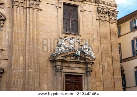 Details of the facade of the Complex of San Firenze a beautiful 17th century Baroque style building in Florence poster
