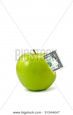 Dollar Coming Out From Green Apple Isolate On White Background