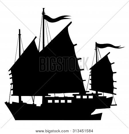 Junk Boat. Silhouette Of A Chinese Vintage Ship. Side View.