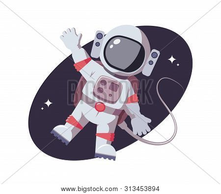Astronaut Waving His Hand Friendly. Flat Cosmic Character On Background Of Open Space. Star Mission,