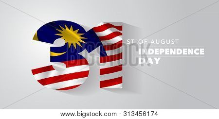Malaysia Happy Independence Day Greeting Card, Banner, Vector Illustration. Malaysian National Day 3
