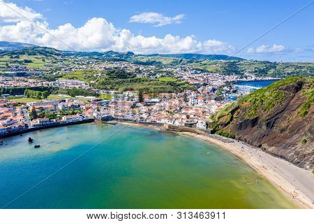 Gates Portao, Idyllic Holiday Beach Praia And Azure Turquoise Bay Baia Do Porto Pim, Red Roofs Of Hi