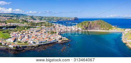 Fort De San Sebastian, Idyllic Beach Praia And Azure Turquoise Bay Baia Do Porto Pim, Red Roofs Of H
