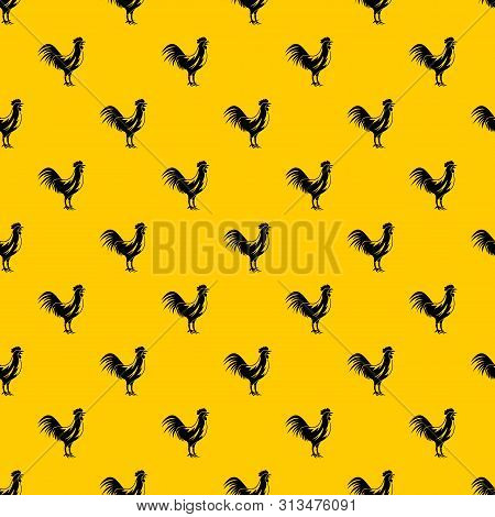 Gallic Rooster Pattern Seamless Vector Repeat Geometric Yellow For Any Design