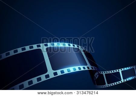 Realistic 3d Film Reel Stripe Cinema On Blue Background With Place For Text. Modern 3d Isometric Fil