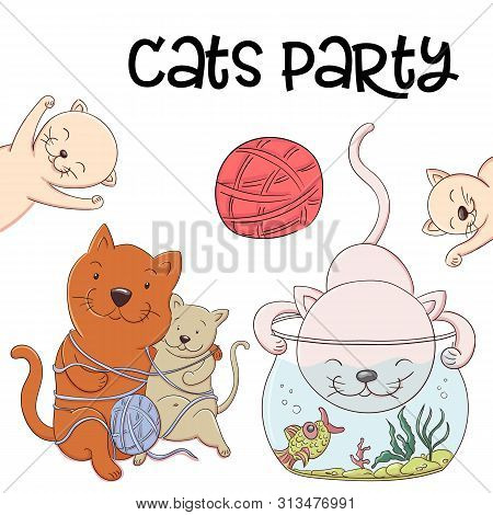 Cute Kittens Catch Fish From The Aquarium And Have Fun And Laugh. Joyful Little Kittens Fishers In T