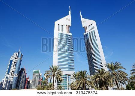 Dubai, Uae - November 19: The Emirates Towers Skyscrapers On November 19, 2017. The Emirates Towers