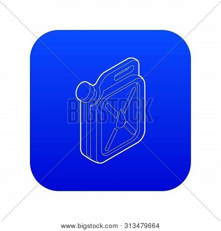 Jerrycan Icon Blue Vector Isolated On White Background