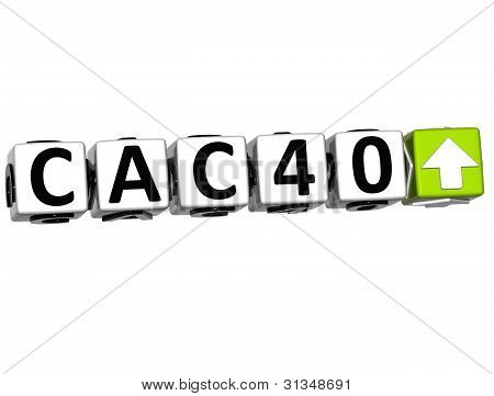 3D Cac40 Stock Market Block Text