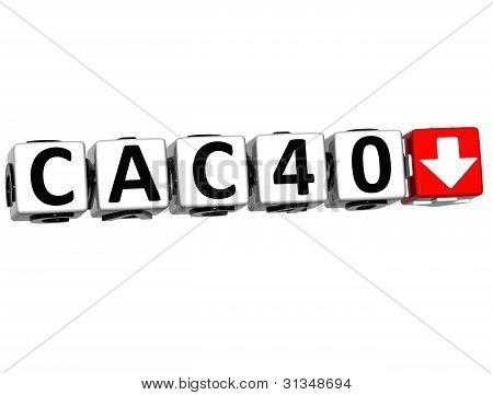 3D Cac40 Stock Market Block Text