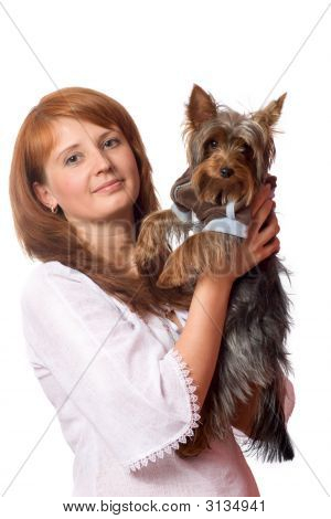 Redhead Woman holding yorkshire terrier isolated on white poster