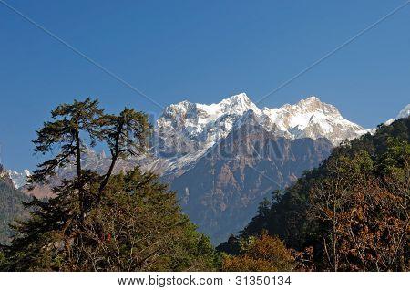 View on  the Manaslu mountain of Nepal