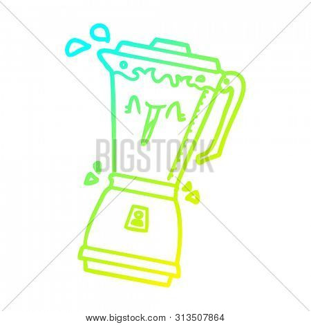 cold gradient line drawing of a whirring cartoon food processor poster