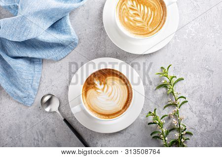 Coffee Latte Or Cappuccino With Latte Art On Top