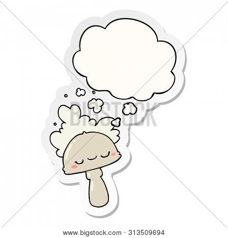 cartoon mushroom with spoor cloud with thought bubble as a printed sticker