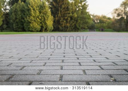 Concrete Paver Block Floor Pattern For Background