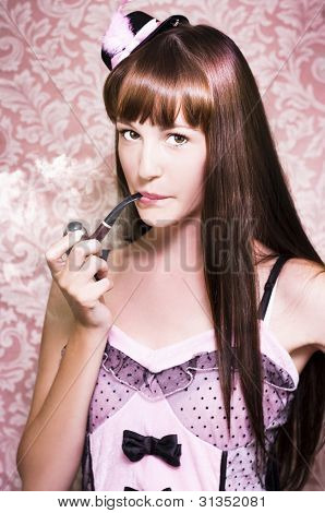 Attractive Film Actress Smoking Pipe