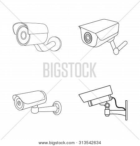 Bitmap Design Of Camcorder And Camera Logo. Collection Of Camcorder And Dashboard Stock Bitmap Illus