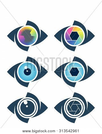 Eye, Film Strip And Shutter Symbols. Vision, Media And Photography Icons.