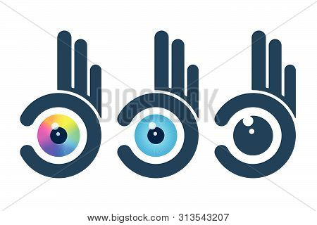 Abstract Hands Holding Eyeballs. Vision Icon Design.