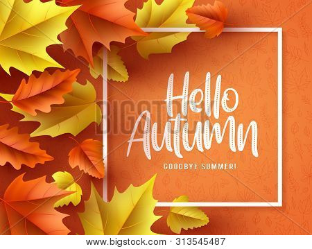 Hello Autumn Vector Background  Banner. Hello Autumn Greeting Text In White Frame With Fall Seasonal