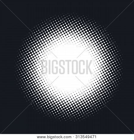 Halftone Dotted Vector Abstract Background, Dot Pattern In Circle Shape. White Comic Isolated Backdr