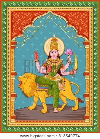 Vector Design Of Statue Of Indian Goddess Katyayani One Of Avatar From Navadurga With Vintage Floral