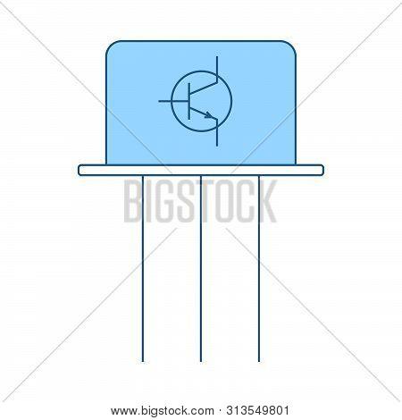 Transistor Icon. Thin Line With Blue Fill Design. Vector Illustration.