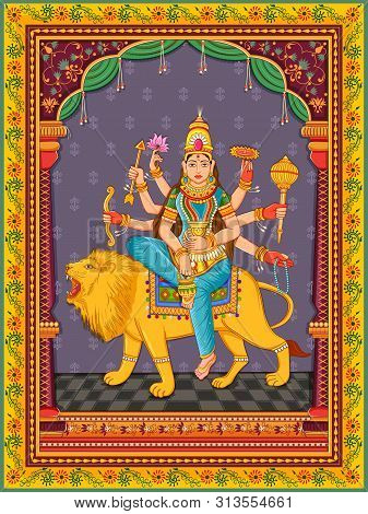 Vector Design Of Statue Of Indian Goddess Kushmanda One Of Avatar From Navadurga With Vintage Floral