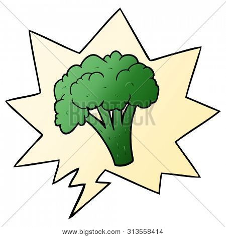 cartoon brocoli with speech bubble in smooth gradient style