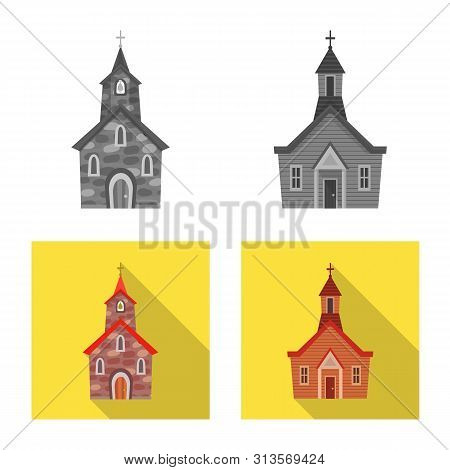 Vector illustration of cult and temple sign. Collection of cult and parish stock symbol for web. poster