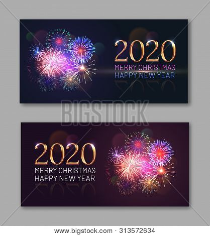 New Year Festival Party Invitation Templates With Bright Fireworks And 2020 Golden Numbers. Celebrat