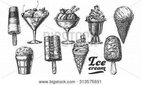 Assortment Frozen Ice Cream Set Vintage Vector. Wafer Cone, Caramel Eskimo Or Chocolate Glaze Sundae