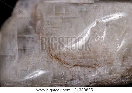 Macro Mineral Stone Moonstone On Black Background