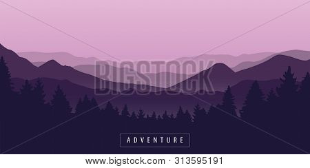 Adventure Mountain And Forest Purple Landscape Vector Illustration Eps10