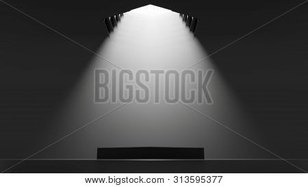 3d Illustration. Showcase Platform Mockup, White Ceiling Light In Empty Dark Room, Cylinder Podium.