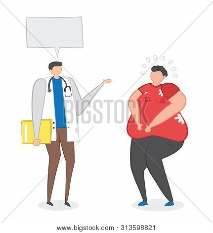 Dietitian Talking With Fat Man, Hand-drawn Vector Illustration. Color Outlines And Colored.