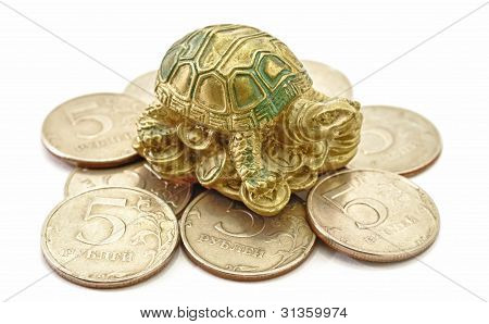 Money Coins with Turtle sitting Feng Shui poster