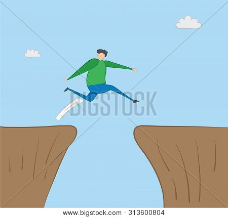 Man Jumping Over Abyss, Hand-drawn Vector Illustration. Color Outlines And Colored.