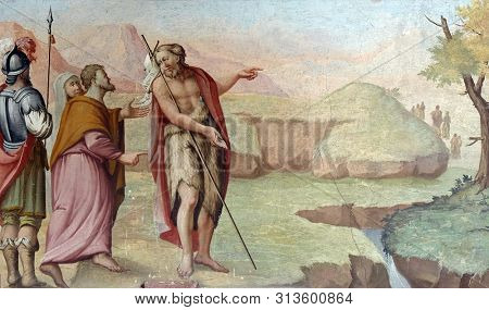 ZAGREB, CROATIA - MARCH 11: Scenes from the life of the Saint John the Baptist, fresco in the Saint John the Baptist church in Zagreb, Croatia, on March 11, 2017.