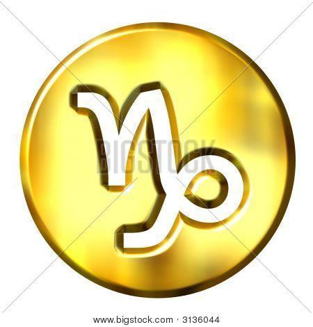 3D Golden Capricorn Zodiac Sign
