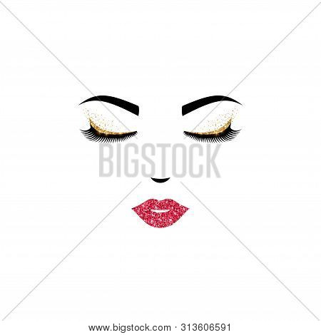 Woman Face Logo Design With Closed Eyes And Pink Lips. Vector Illustration. Girl Eyelashes For Cosme