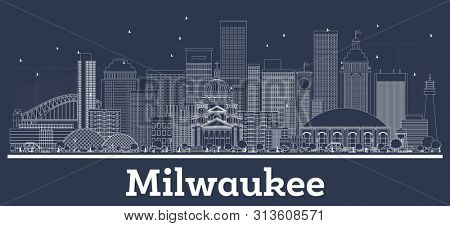 Outline Milwaukee Wisconsin City Skyline with White Buildings. Business Travel and Tourism Concept with Modern Architecture. Milwaukee Cityscape with Landmarks.