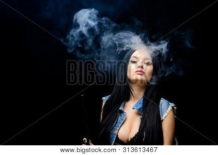 Fashion Girl Vaping. Relaxing With Hookah. Nicotine Addiction. Attractive Busty Brunette Smoking Vap