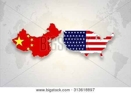 Print Screen Usa And China Flag On Each Countries Map Background.united States Of America Versus Chi