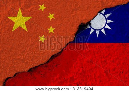 China flag and Taiwan flag on cracked wall damage. China have conflict and try to merge Taiwan to one China. poster