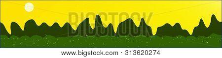 Yellow Sky, And Mountains Landscape. Light Glass Print Panaramic Design. Glass Print Skinali Light A