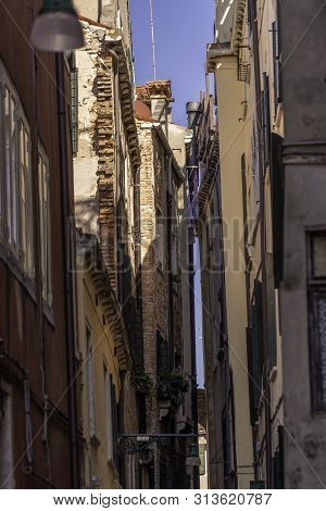 Venice, Italy, Street Canals And Tipical Buildings